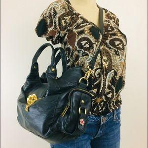 ROUGH ROSES Purse Black Leather Shoulder Bag
